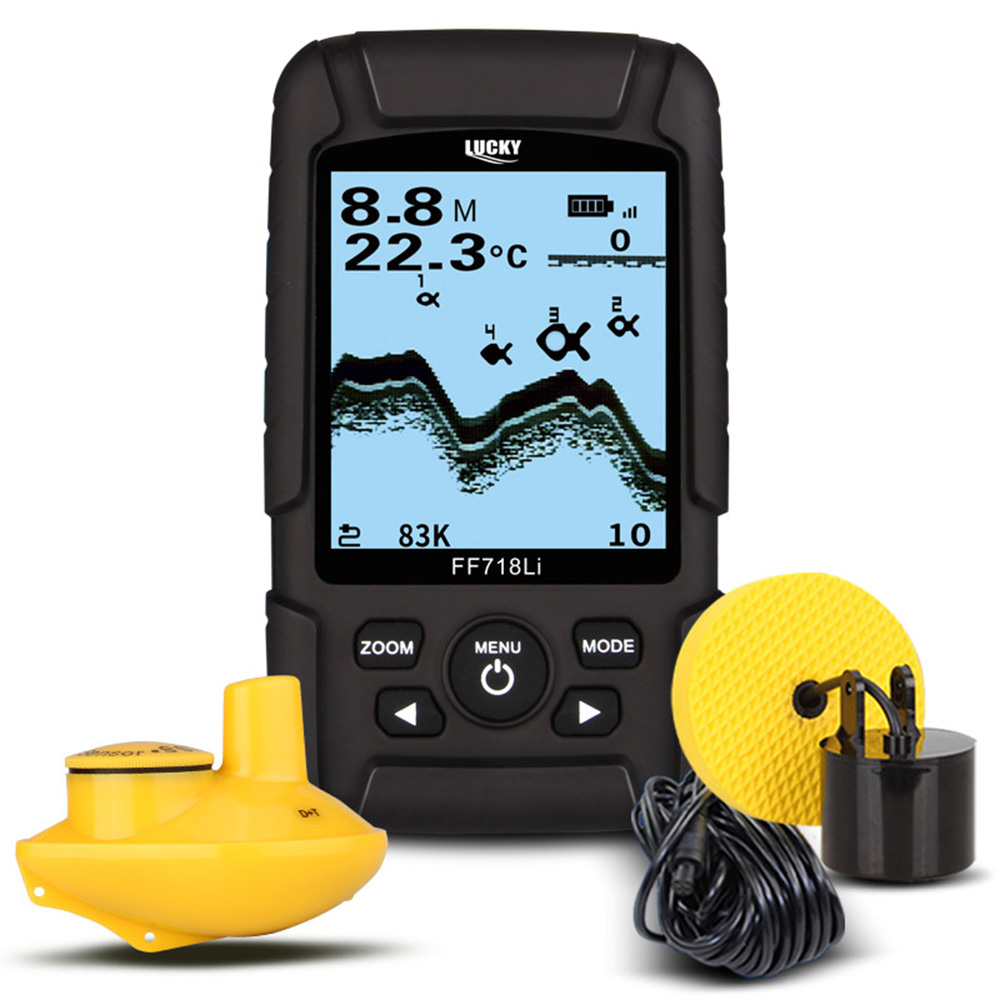 LUCKY FF718LiD USB Rechargeable Wireless Remote Sonar Sensor 200m Water Depth High Definition LCD Portable Fishing Fish Finder