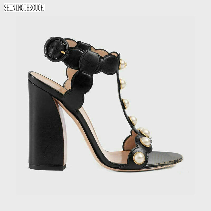 New cow leather high heels sandals pearl women shoes black gold 11cm thick heels T strap