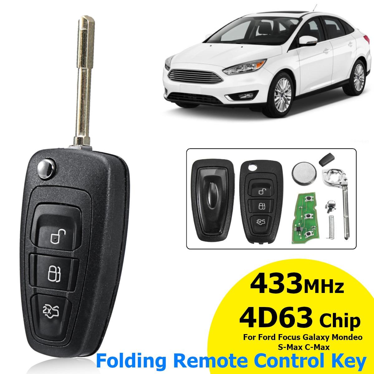 3 taste 433 MHz Flip Folding Remote Key 4D63 Chip F021 Klinge Für Ford für Fokus für Galaxy für Mondeo für S-Max 2010-2015