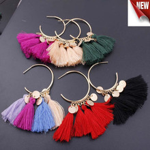 2019 New 12 Colors Bohemian Retro Long Tassel Earrings Vintage Exaggerated Dangle For Women Statement fashion Jewelry