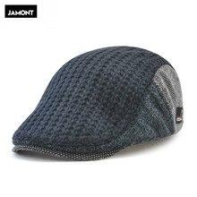35058244554 Jamont Mens Knitted Wool Beret Cap Winter Warm Hat For Male Duckbill Visor  Flat Cap Boina