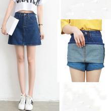 Women Summer New Fashion Sweet denim Short Skirt High Waist Thin Cowboy A-type Safety Anti Emptied Skirt Female