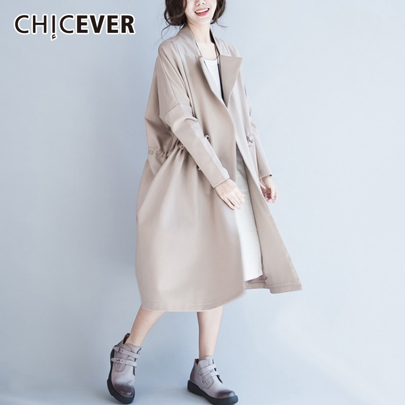 CHICEVER Spring   Trench   Coat For Women Loose Windbreaker Lapel Long Sleeve Button Pockets Loose Slim Female Coat 2019 Fashion New
