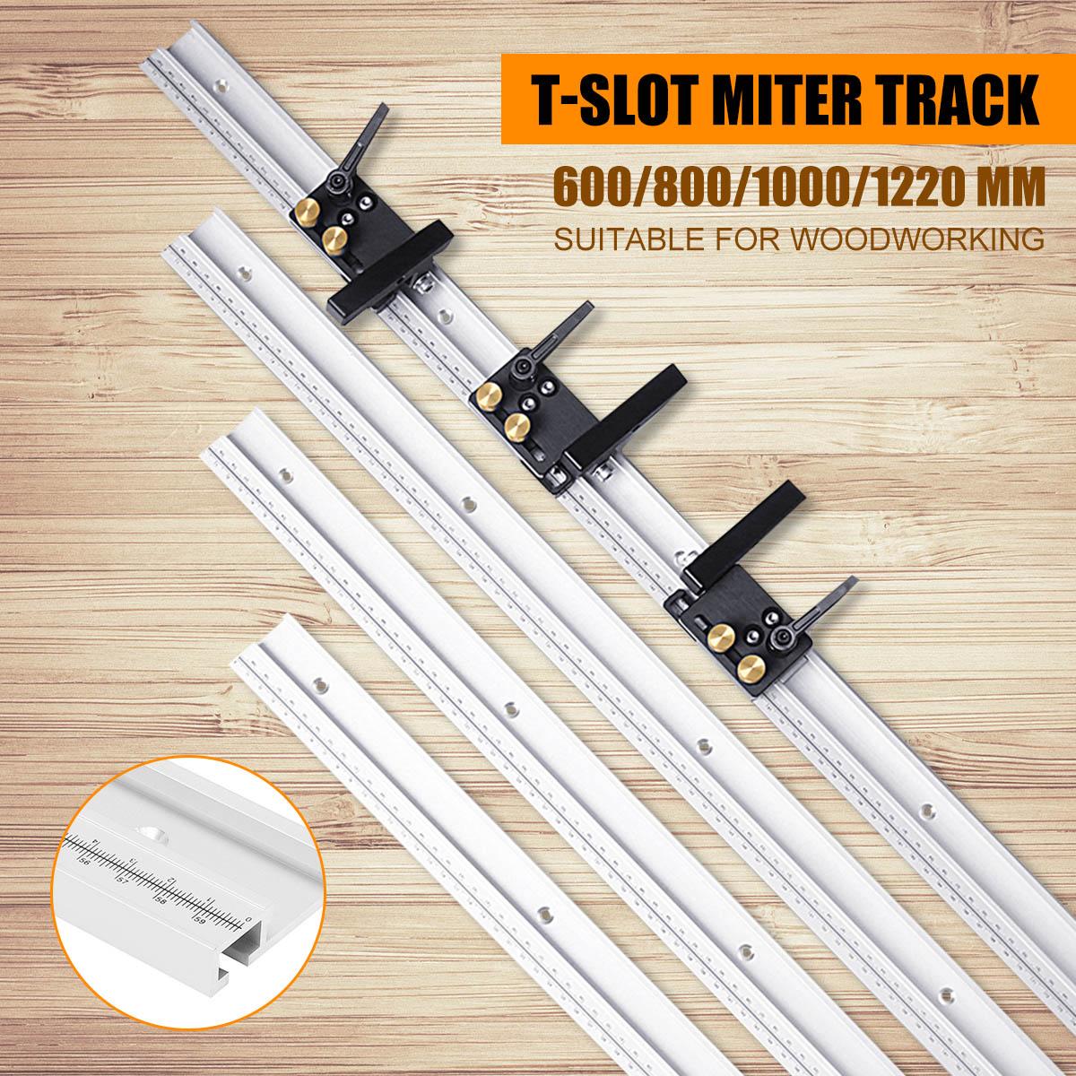 600/800/1000/1200mm אלומיניום סגסוגת T-מסלול נגרות T-חריץ מצנפת מסלול עם בקנה מידה/מצנפת מסלול להפסיק