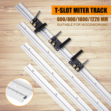 600/800/1000/1200mm Aluminum Alloy T Track Woodworking T slot Miter Track with Scale/Miter Track Stop