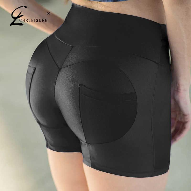 CHRLEISURE Fitness damskie spodenki wysokiej talii kieszonkowe spodenki damskie treningowe Push Up damskie krótkie spodnie Bodybuding odzież damska