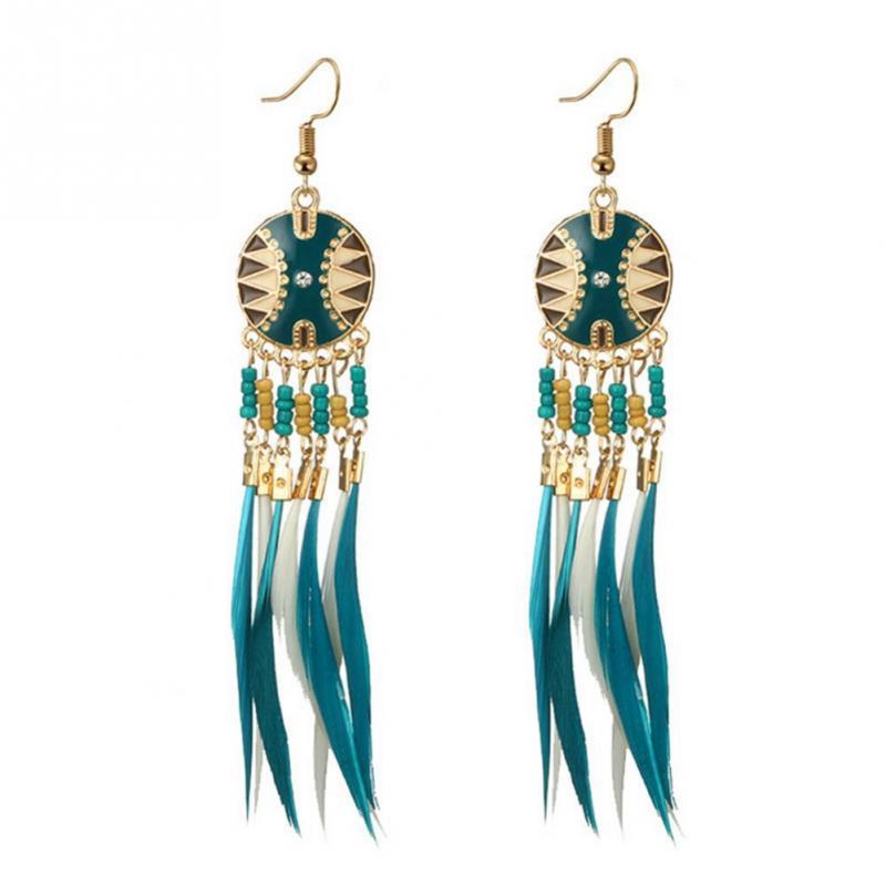 Bohemia Ear Stud Drop Dangle Earrings Long Ethnic Round Earrings Women Jewelr UP
