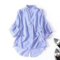 100% шелковые Полосатые Пуловеры Блузка 2018 новые Подиумные женские летние рубашки высокого качества офисные женские с v образным вырезом сво