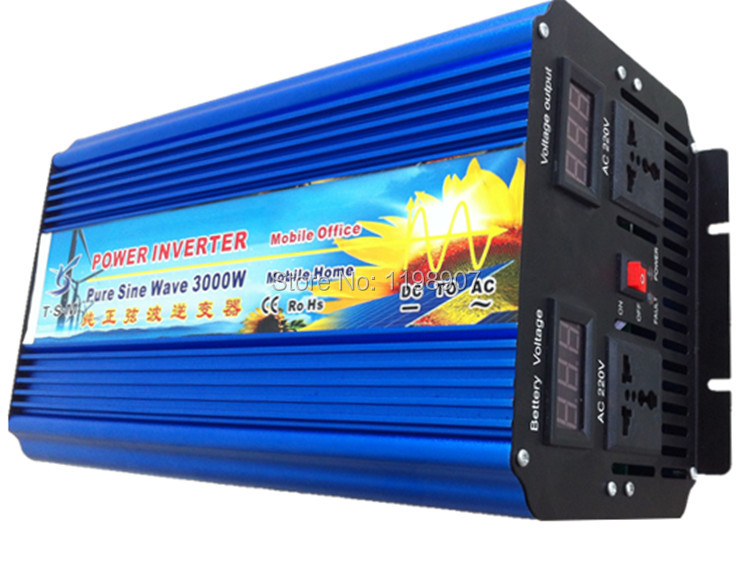 Dual digital display 3000W Pure Sine Wave Power Inverter For Solar System Free Shipping