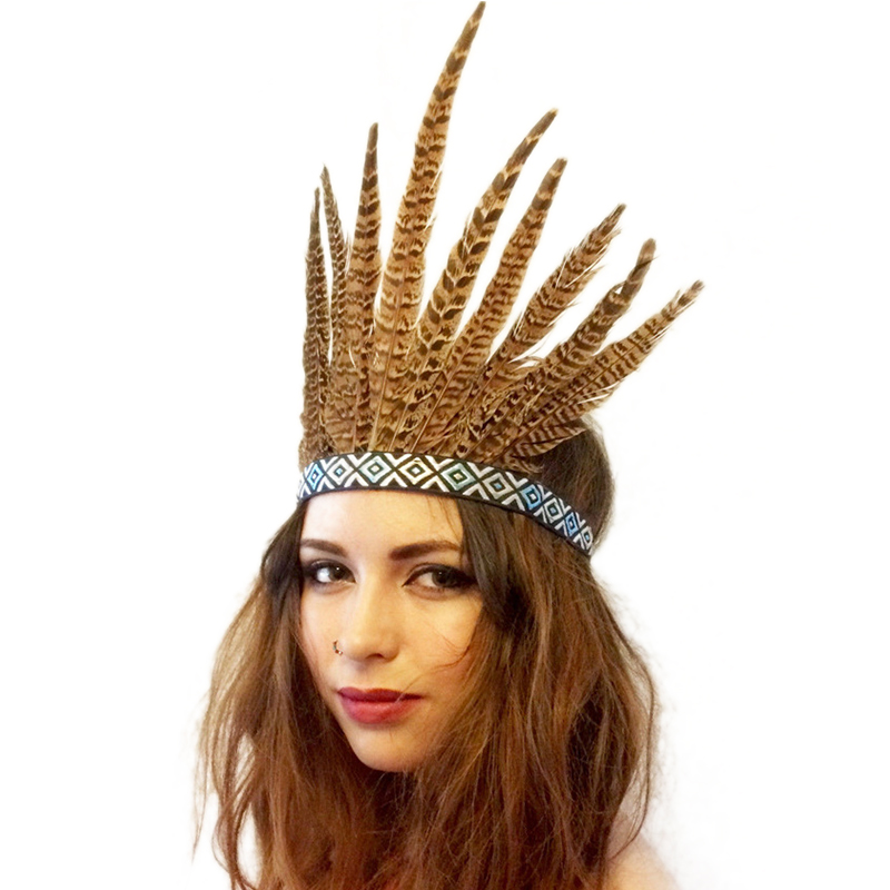 Feather Hair Band Tiara Bohemian Indian Gypsy Dance Show Headband Accessories National Style