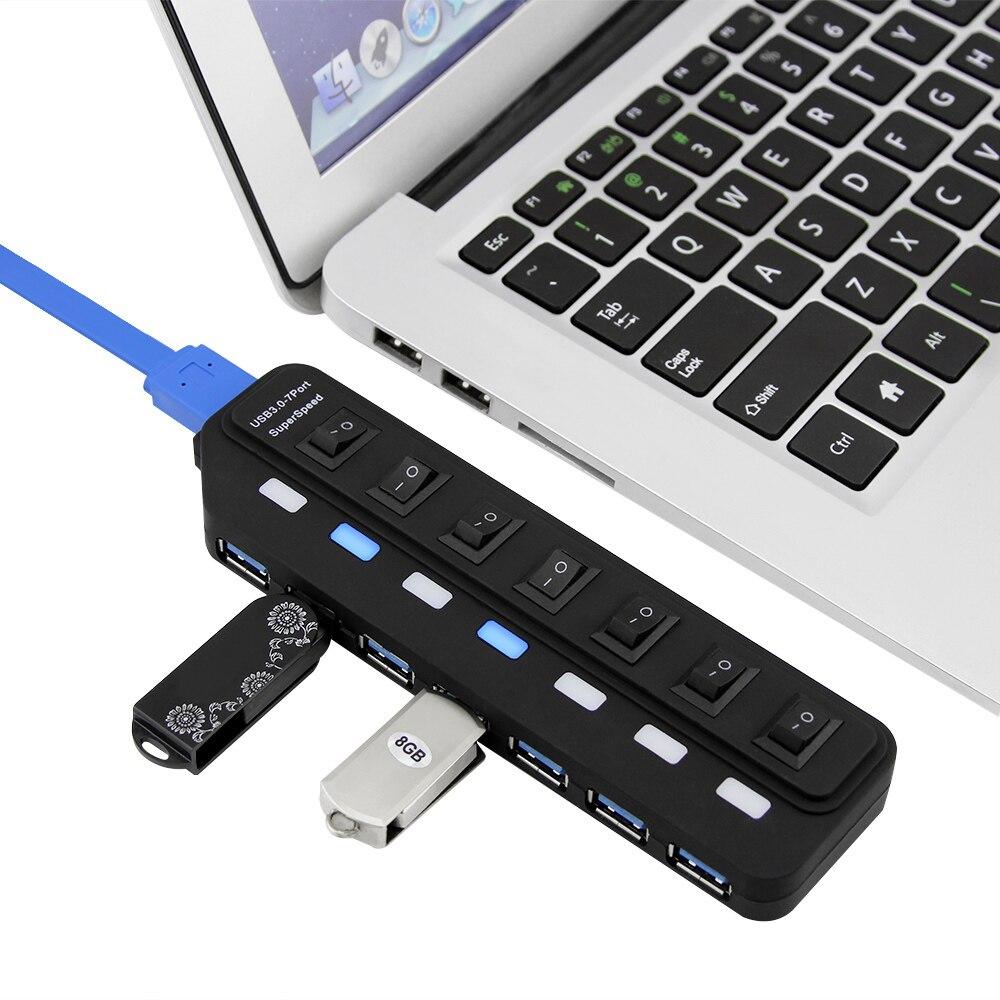 7 portas USB 3.0 HUB Splitter Com Adaptador de Energia USB Hab 3 5 5gbps USB Divisor HUB de Alta Velocidade Para PC