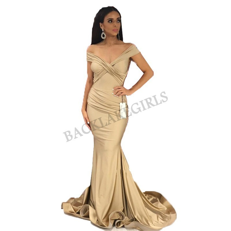 Simple Elegant   Prom     Dress   Long Mermaid V-neck vestidos de fiesta Champagne Evening Party   Dresses   For Women