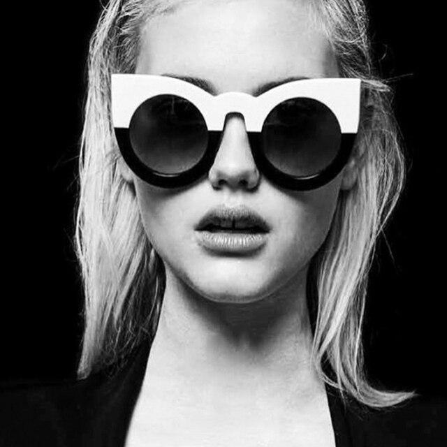 Fashion sexy round cat eye sunglasses gradient white black big ladies sun glasses for women cat eye luxury oculos