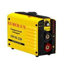 Аппарат сварочный инверторный Eurolux IWM220 (Диапазон тока 10-220 А, 220A/70% , работа при пониженном напряжении, степень защиты IP21)