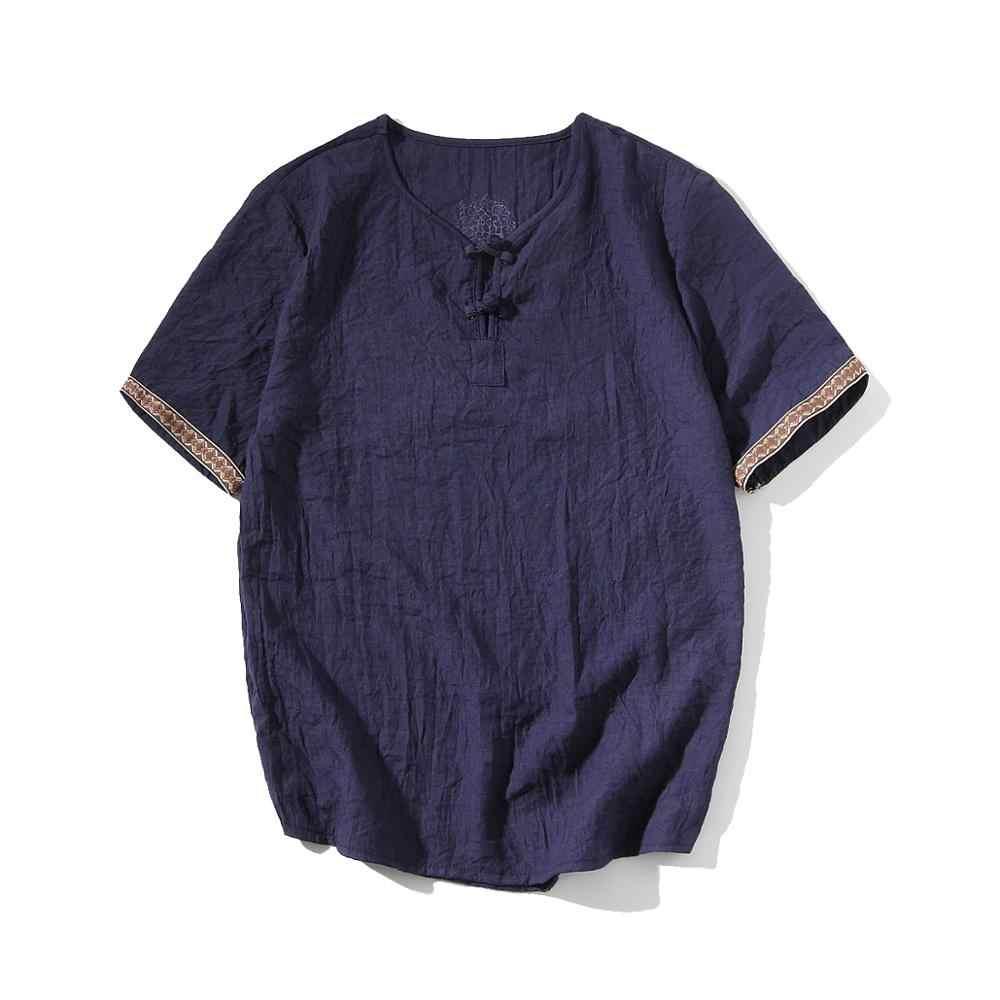 2019 夏新メンズシャツファッション中国風リネンスリムフィットカジュアル半袖シャツカミーサソーシャルビジネスドレスシャツ