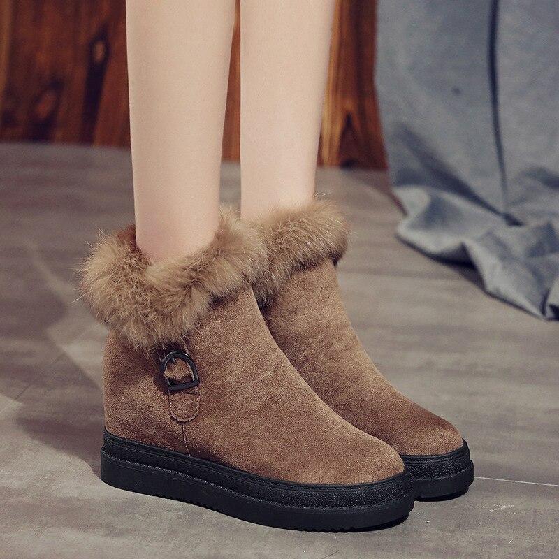 Martin Botas Zapatos brown Pu Black Tacón Mujer Plana De Moda Alto Cuero Cremallera 2019 Plataforma La 4AqCOx