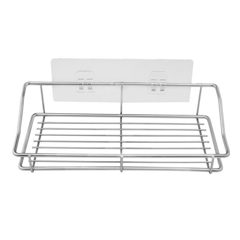 Promotion! Silver Bathroom Shelf Organizer Storage Kitchen Rack With Traceless Transparent Adhesive No Drilling Stainless Steel