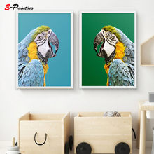 Macaw Parrot Photo Wall Art Emerald Background Prints Tropical Bird Print Posters Modern Living Room Home Decor(China)
