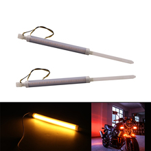 1 Pair Universal Flexible LED 48-70MM 25LED Motorcycle Fork Turn Signal Light Amber Strips