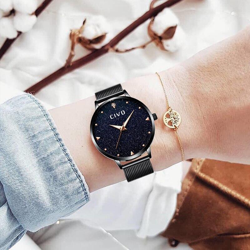 CIVO Модный Топ бренд для женщин часы водостойкий аналоговый черный женские наручные часы Diamond Сияющий браслет часы