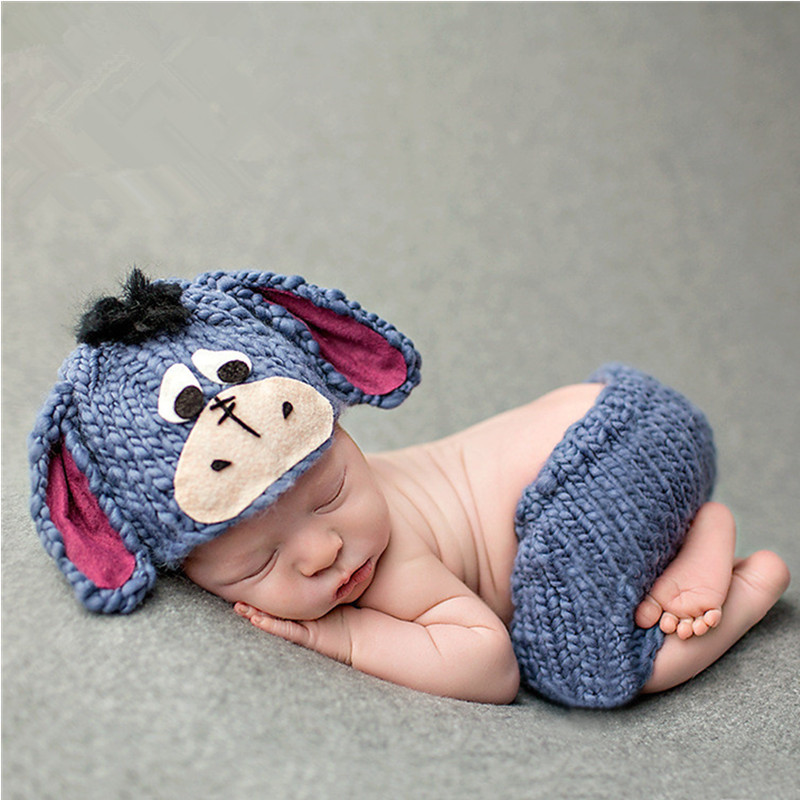 Newborn Photography Props Accessories Baby Photography Costume Crochet Hat+Pants Set Baby Photo Props Cute Baby Cartoon Clothing