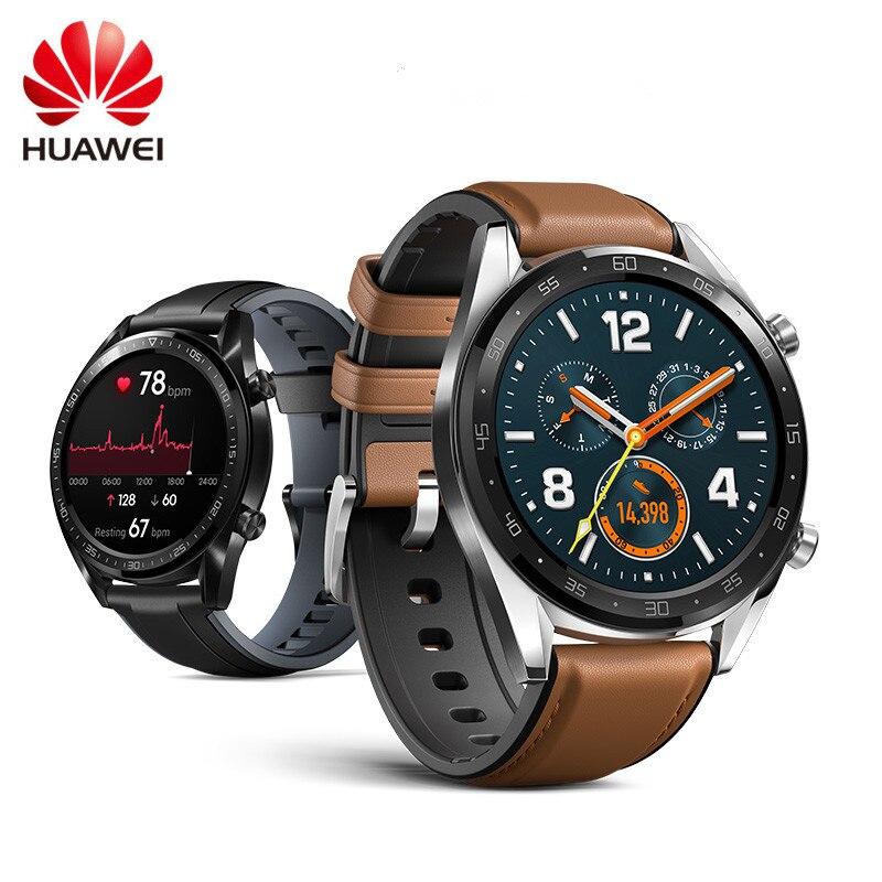 Montre HUAWEI GT montre de Sport intelligente 1.39 pouces AMOLED écran coloré moniteur de sommeil de fréquence cardiaque GPS NFC 5ATM SmartWatch étanche