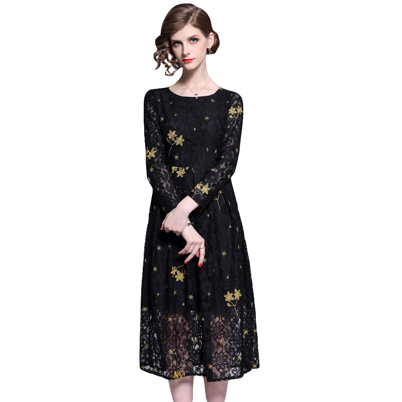 Banulin 2019 Spring Women Black Lace Dress High-End Ladies O-Neck stitching Runway Vintage Female Slim Sexy Party Dresses B6378