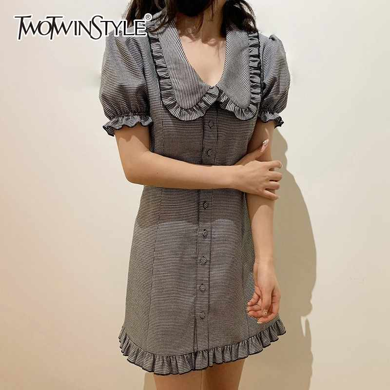 af2ed44be1132 Detail Feedback Questions about TWOTWINSTYLE Plaid Dress Female ...