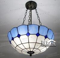 Тиффани Ретро Винтаж подвесные светильники Стекло абажур чердак подвесные лампы E27 110 v 220 v для столовой в средиземноморском стиле