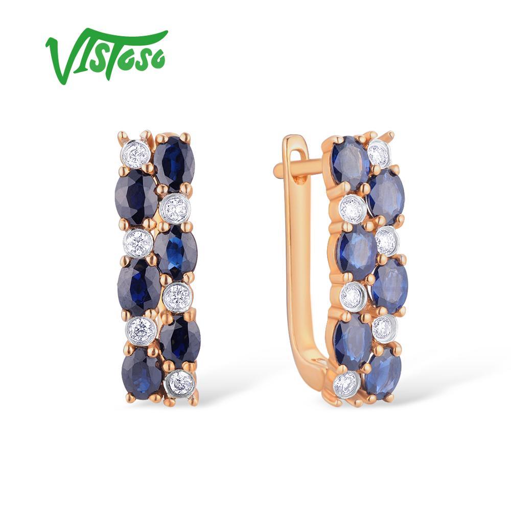 VISTOSO Gold Earrings For Women 14K 585 Rose Gold Sparkling Blue Sapphire Luxury Diamond Wedding Band