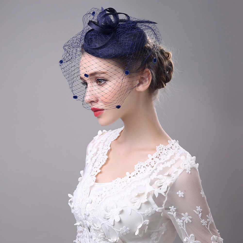 100% Handmade Fedora Women Hat Cap Fedoras Dress Fascinator Linen Felt Pillbox Hat Party Headwear Wedding Bow Veil