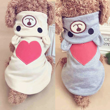 Купить с кэшбэком Cute Dog Clothes For Small Dog Cotton Clothing Coat Hoodies For Chihuahua Pets Dogs Warm Clothes Pajamas Love Bear Costume 10S1