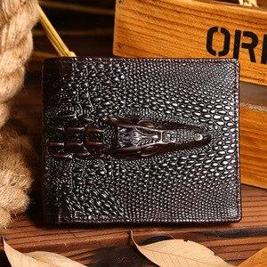 High Quality Genuine Leather Purse Crocodile Grain Male Clutch Money Bag Card Holder Pack Men Oil Wax Cowhide Long/Short Wallet(China)