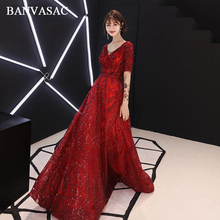 BANVASAC Deep V Neck Sequined Sash A Line Long Evening Dresses Party Lace Appliques Half Sleeve Backless Prom Gowns