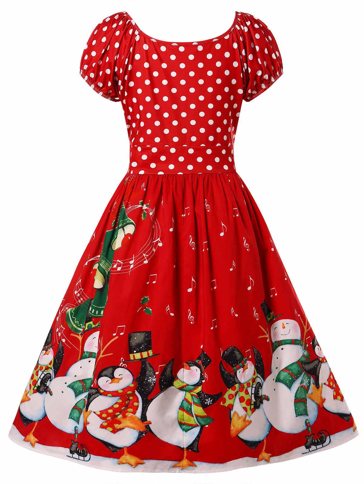 Wipalo плюс Размеры принтом пингвина Flare женское платье на Рождество Винтаж вечерние платье с круглым вырезом линии Высокая талия 50 s свинговое платье-рубашка