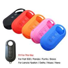 3 Buttons Silicone Car Key Case Cover Fob Shell Holder For Fiat 500 Panda Punto Bravo For Lancia Ypsilon Delta Musa Nera(China)