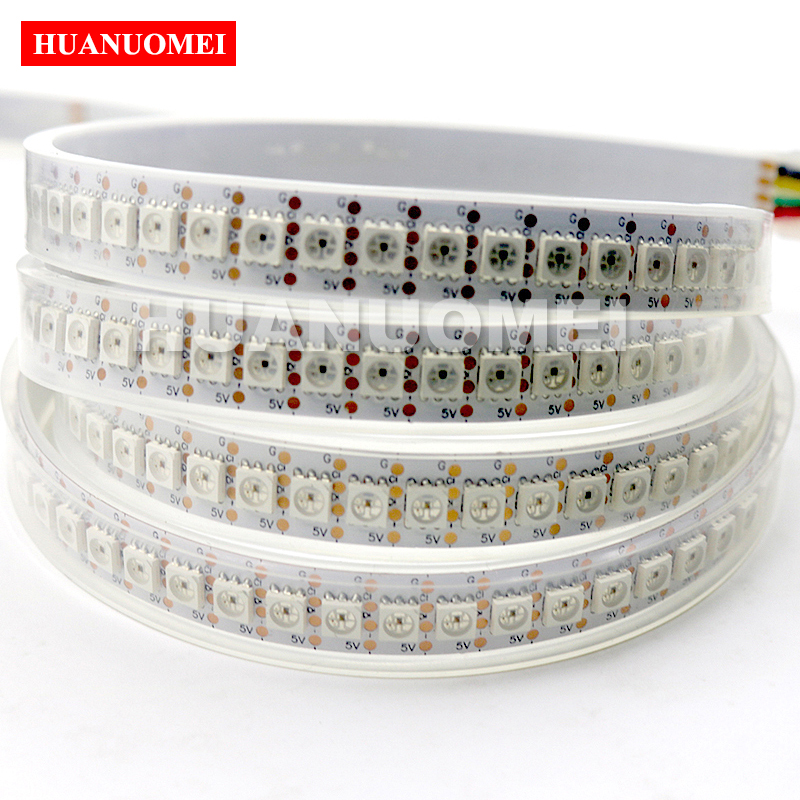 1 M 5 V APA102 lumière bande de pixel LED rgb TV, 144 LED APA102 5050 SMD 144 Pixels; PCB blanc, Tube de silicium IP67; données et horloge séparément