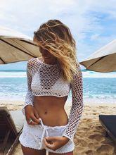 Sexy Women Summer Bathing Suit 2017 New Lace Crochet Bikini Cover Up Swimwear Tunics robe de plage Black White Top