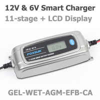 Foxsur 12v 4a 6v 1a 11-etapa cargador de batería inteligente, juguete y coche Agm Gel húmedo Efb cargador de batería, Lcd cargador de batería inteligente