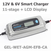 Foxsur 12v 4a 6v 1a 11 stage Smart Battery Charger, Toy & Car Agm Gel Wet Efb Battery Charger, Lcd Intelligent Battery Charger