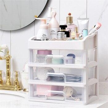 Plastic Makeup Organizer Cosmetic Drawer Makeup Storage Box Container Nail Casket Holder Desktop Sundry Storage Case Bead Tools фото