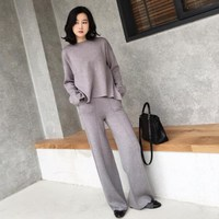 Autumn Warm Woolen Cashmere Knitted Suits Loose Flare Sweater Wide Leg Cashmere Pants Office Lady Solid Two Pieces Knitted Sets