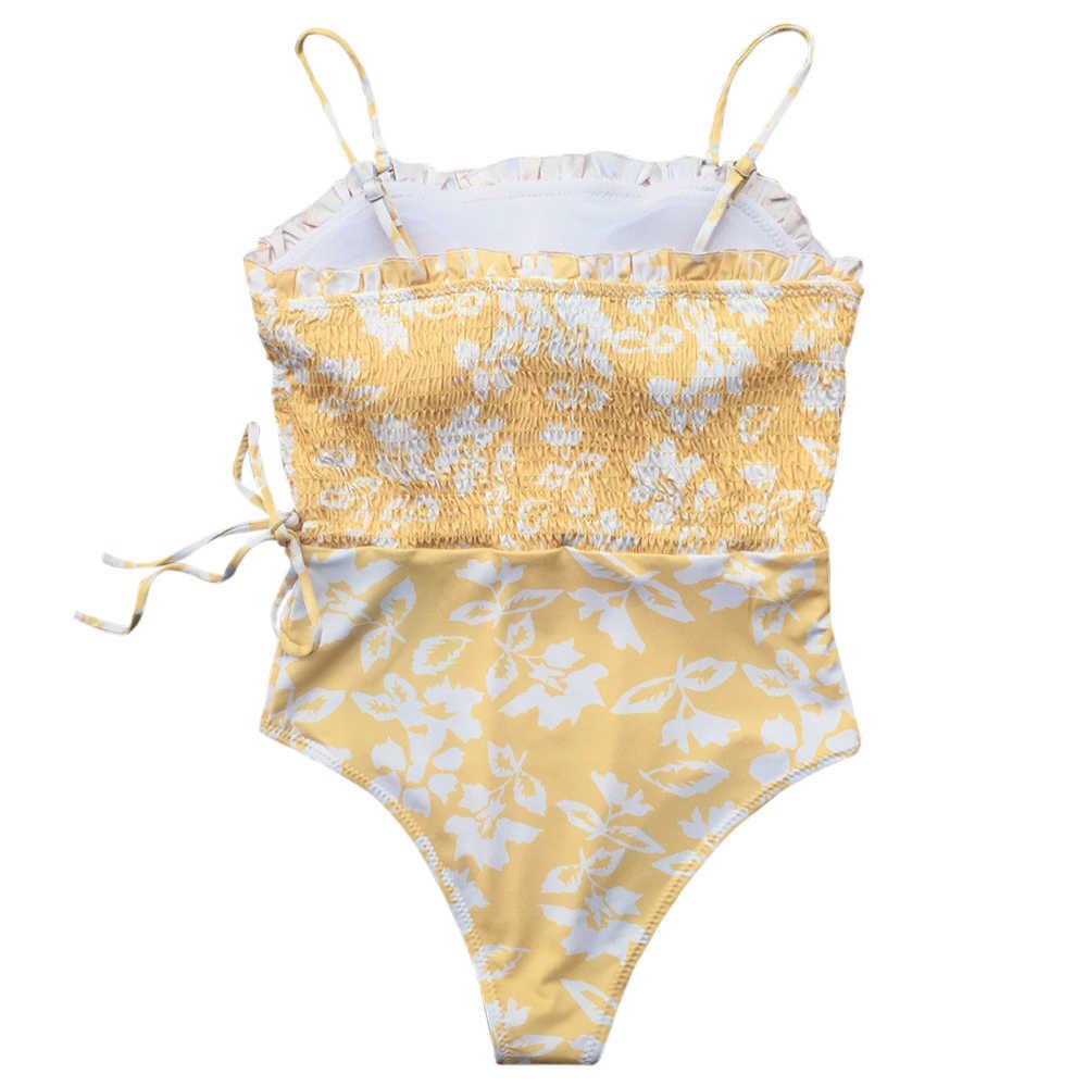 LANGSTAR летний купальник женский купальник на тонких бретельках мягкий кружевной Цветочный рисунок рубашка женский купальник бикини 2019 Mujer