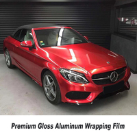 High end Gloss Aluminum Wrapping Film car vinyl wraps Quality assurance Multiple colors solvent based low initial tack adhesive