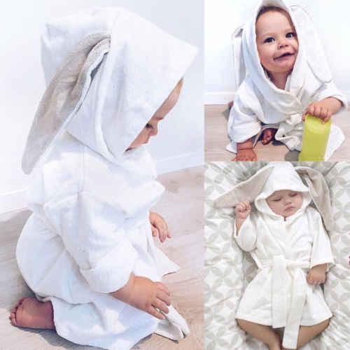 c1377a0f5c 2018 New 3D Rabbit Ears Sleepwear Cute Boy Girl Animal Baby bathrobe hooded  bath towel infant