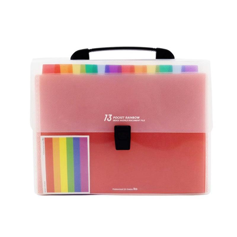 13 Pockets Plastic Expanding Accordion Folders, Letter Size Portable Document Holder, A4 File Organizer