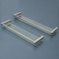 Bathroom Shower Shelf Glass Chrome Brass Shower Shelf Brass Base with Glass Tier Bathroom Hardware Wall Mount Shelf