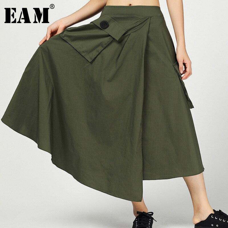 [EAM] 2019 New Spring Summer High Elastic Waist Black Irregular Personality Split Joint Half-body Skirt Women Fashion Tide JT011