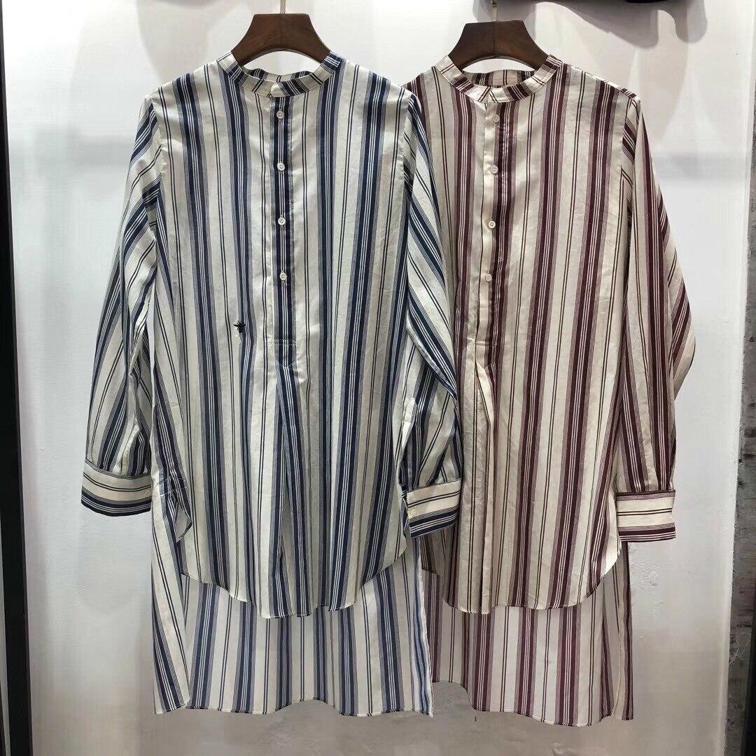 Y041 New breite casual hemd mit langen ärmeln, lange vertikale streifen, kurze vordere und lange zurück-in Blusen & Hemden aus Damenbekleidung bei  Gruppe 1
