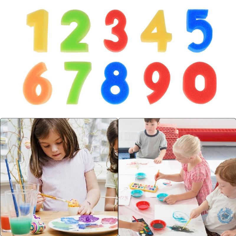 10 Stks/partij Kids Spons Nummer Stempel Tekening Speelgoed Baby Kleuterschool Educatief Speelgoed Diy Digitale Doodle Schilderij Tekening Gereedschappen Gift